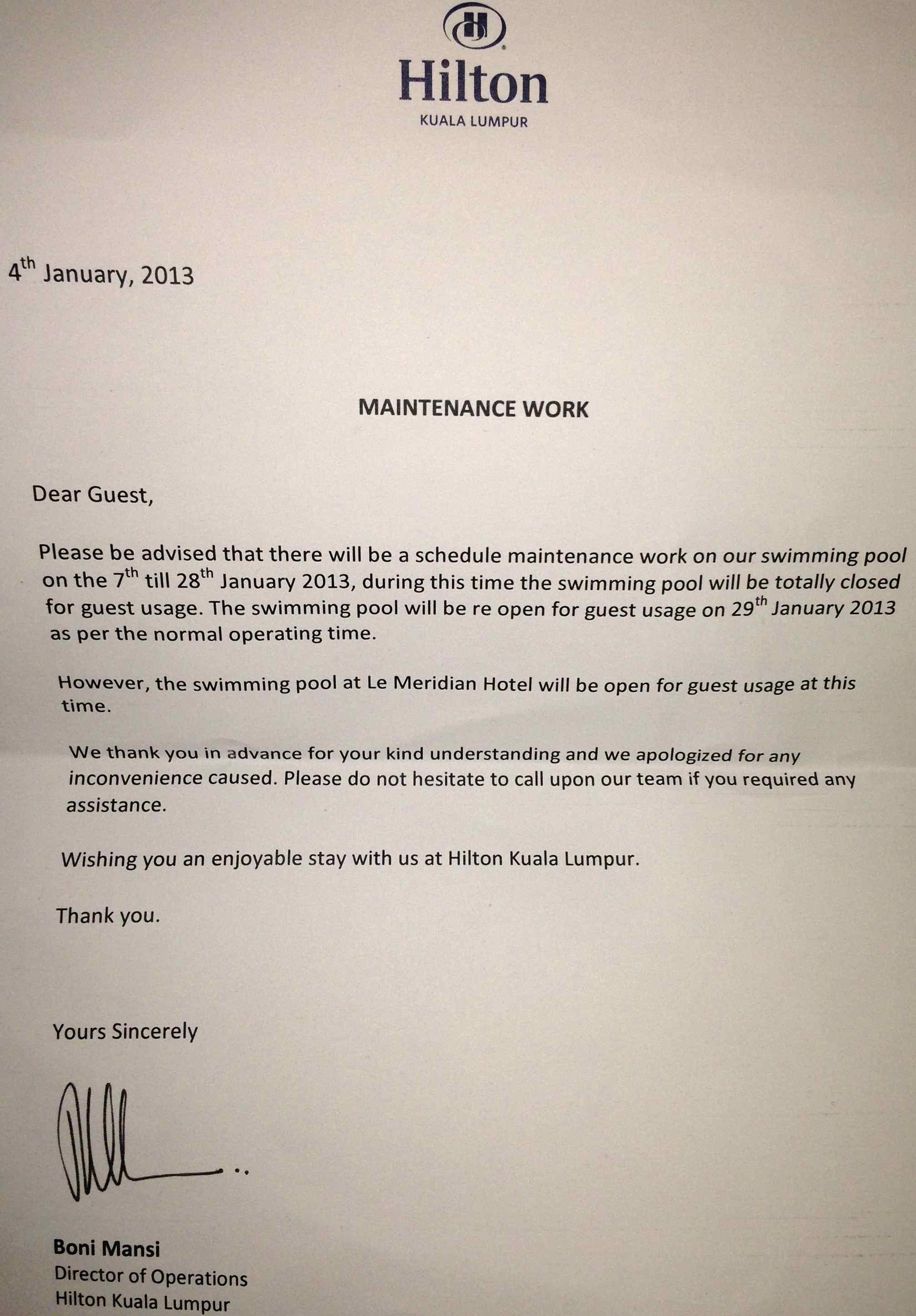 Hilton Kuala Lumpur Trip Report Blackout Closed Pool