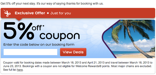 Discount hotel coupons