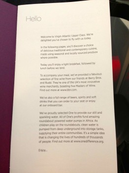 Virgin Atlantic Upper Class Flight17