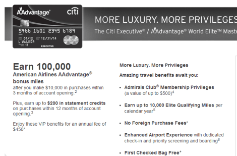 AA Citi 100K Mile Offer