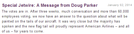 Doug Parker Tail Vote Message