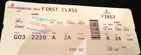 Emirates First Class Malé (MLE) - DXB B777-200LR02