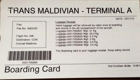 Trans Maldivian Boarding Card