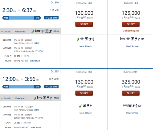 Delta Award Availability