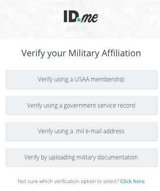 Choose An Option To Verify Your Military Affiliation. Once You Have  Selected The Affiliation, You Will Be Prompted To Authorize That  Affiliation.