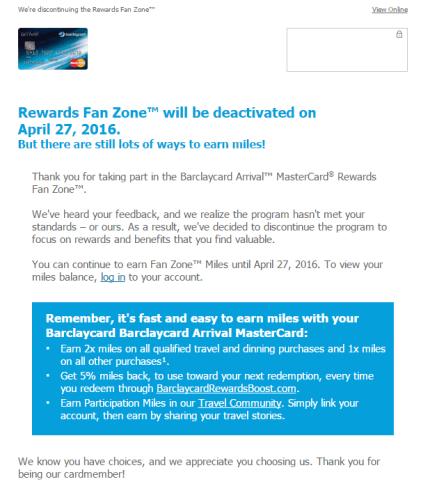 Barclaycard Rewards Fan Zone