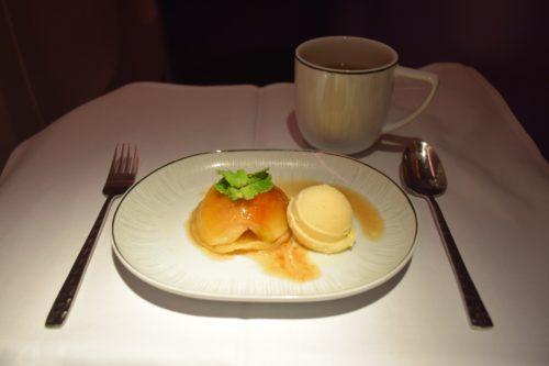 Thai Airways 777 Business Class dinner Apple Tart Tatin with Vanilla Bean Ice Cream