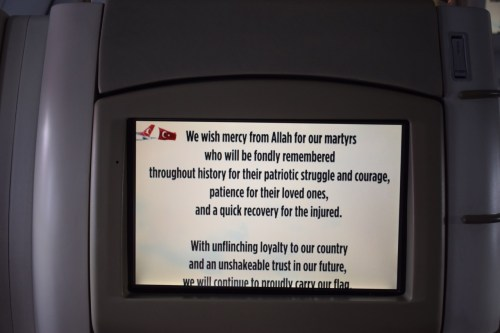 Turkish Airlines Post-Coup In-Flight Message