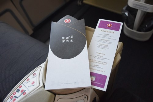 """Turkish Airlines """"Old"""" Business Class - Menu"""