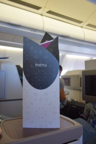 Turkish Airlines Business Class A330 - Menu