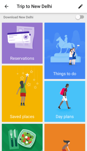 Google Trips directly imports your reservation information