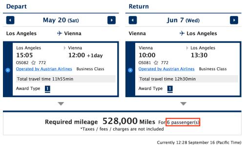 6 Business Class seats available on Austrian's New VIE-LAX Flight