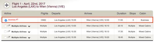 Book Austrian's new LAX-VIE flight on LifeMiles