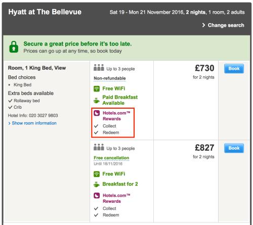 Redeem Hotels.com Rewards for Hyatt at the Bellevue