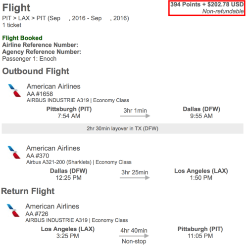 My flights from Pittsburgh to Los Angeles and back