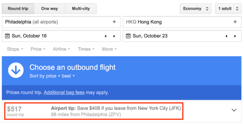 Google Flights can also suggest nearby airports with lower fares.