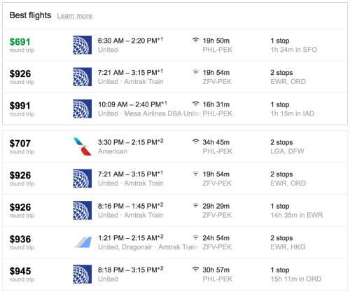 Google Flights show you a number of routing options with prices.