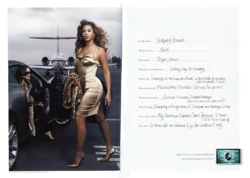 """Beyonce with AMEX's """"Are You a Cardmember"""" Campaign, which also features Tina Fey"""