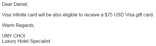 Confirmation that Visa Infinite cards are eligible for the $75 Visa gift card offer