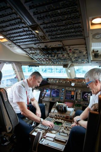 Captain John Graham (left) was chosen for this flight as the longest-serving 747 pilot in Cathay Pacific. Photo by Cathay Pacific.