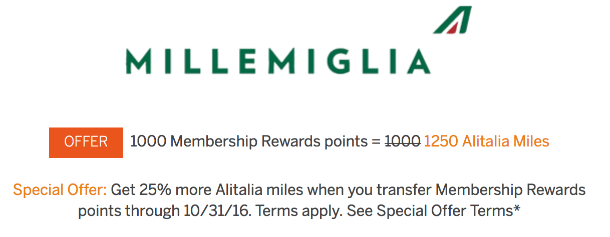 American Express is offering a 25% bonus on transfers to Alitalia MilleMiglia