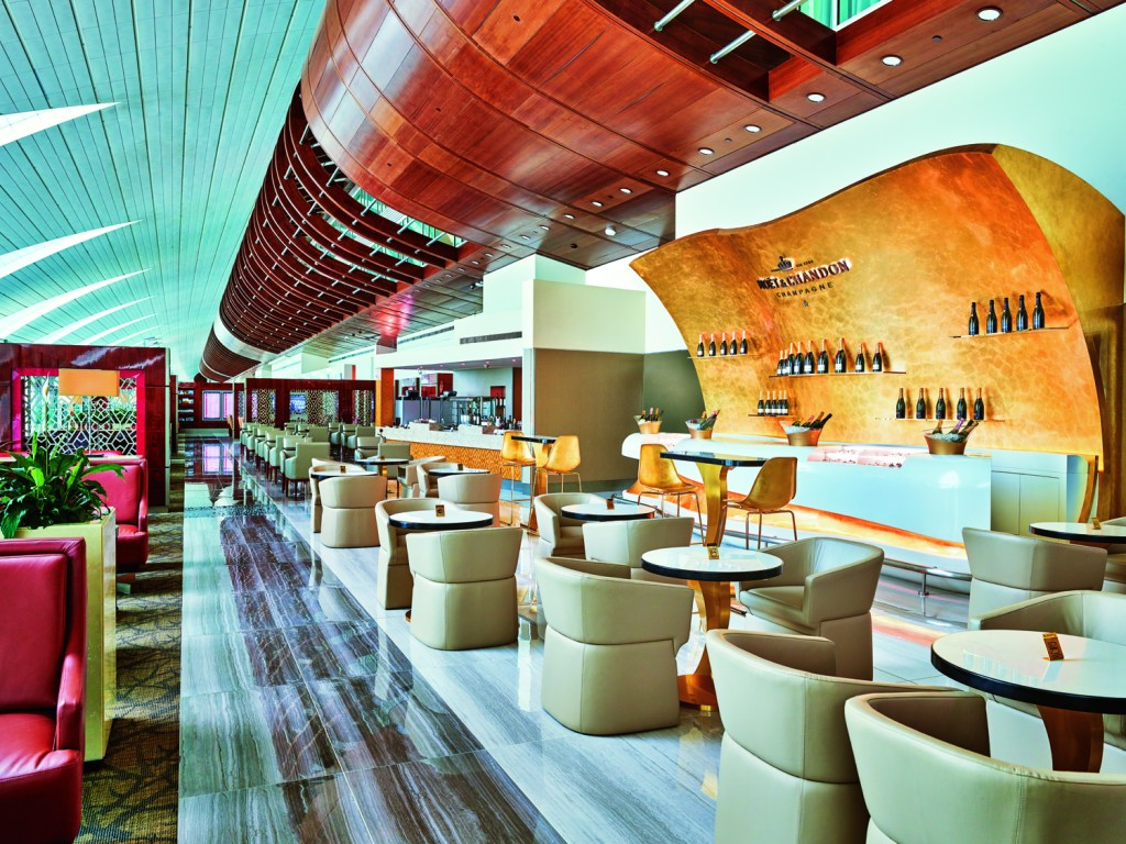 Renovated Emirates Business Class Lounge Dubai Concourse B Champagne Lounge