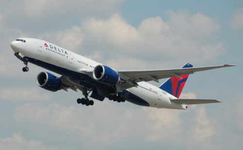 A Delta Air Lines 777-200LR. Photo by Adrian Pingstone, used with permission.