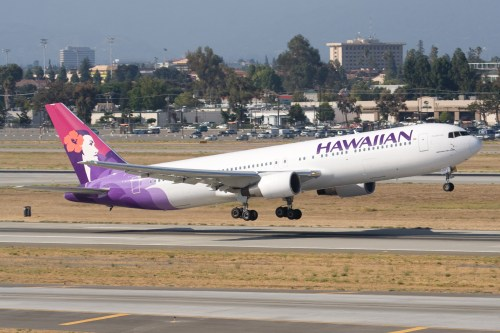 A Hawaiian 767. Photo by Dylan Ashe, used with permission. The same type of plane for the American Samoa route, where Hawaiian weigh passengers at check-in.