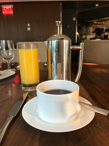 Conrad New York - Atrio Restaurant Breakfast Juice & Coffee