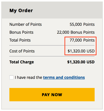 You can buy up to 55,000 points from Hyatt every year
