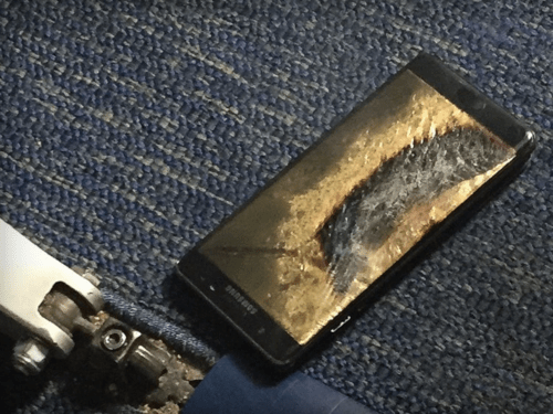 Galaxy Note 7 that exploded on Southwest flight. Photo by Brian Green, from The Verge.