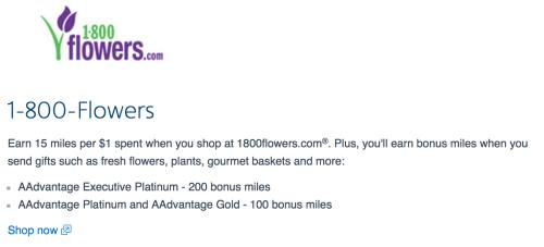 Earn 15 American Airlines miles per dollar at 1-800-Flowers, or more as an AA elite member.