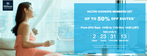 Up to 50% off suites at Hilton properties in Japan and Korea