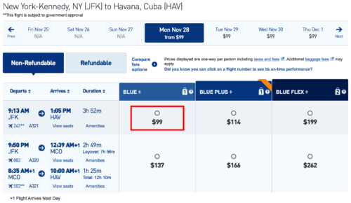 Fly from New York to Havana for $99 on JetBlue