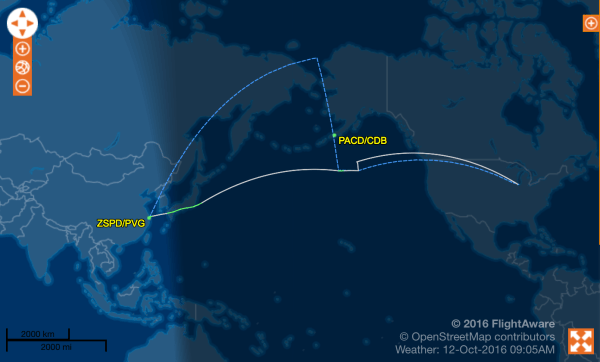 American Airlines flight 288 made a diversion to Cold Bay, Alaska enroute from Shanghai to Chicago.