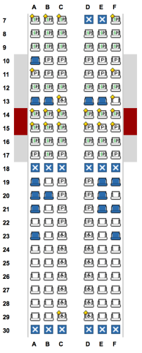 Seat map for American Airlines' flight - Miami to Santa Clara