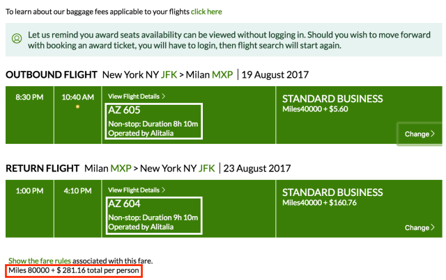 Fly between New York and Milan on Alitalia metal with old prices