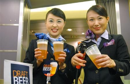 In 2010, All Nippon Airways offered draft beer in-flight.