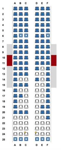 Seat map for JetBlue's flight - Fort Lauderdale to Santa Clara