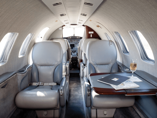 """Delta Private Jet's Citation Bravo, a """"Light Jet"""" option, which seats up to 9 passengers. Photo by Delta Private Jets."""
