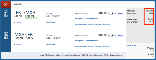 Redeem 140,000 Delta SkyMiles for the same trip