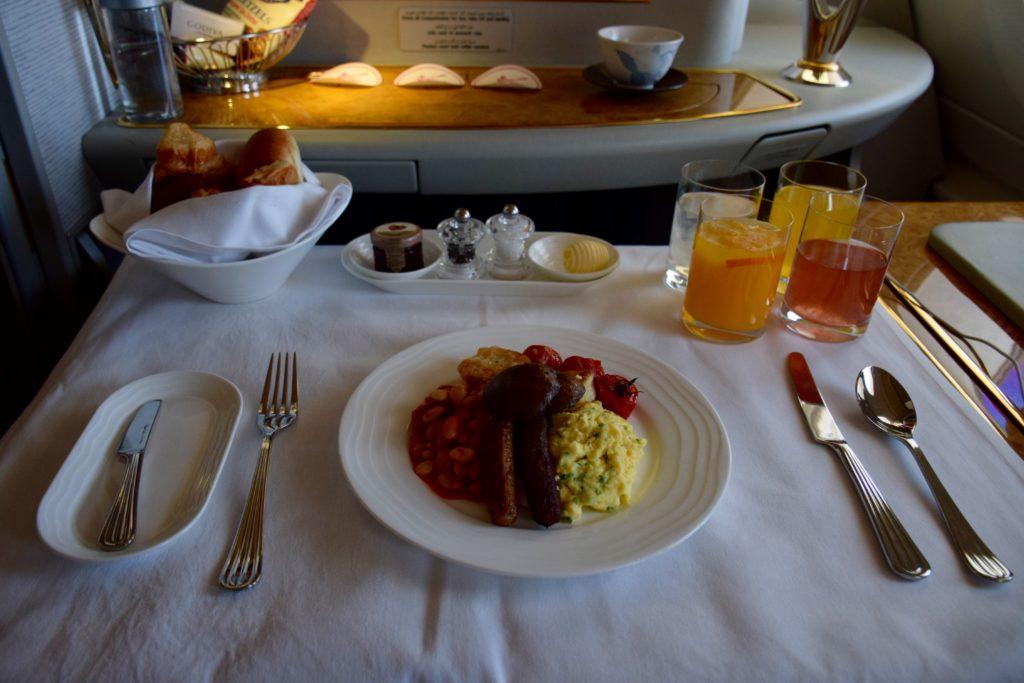 Emirates First Class A380 Breakfast