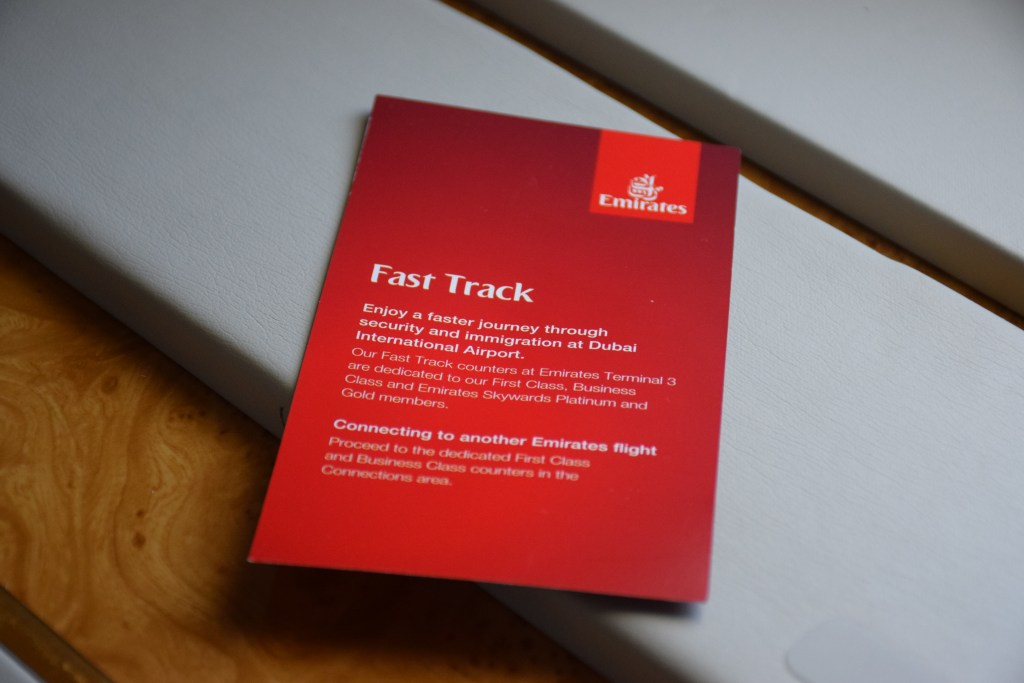 Emirates First Class A380 Fast Track Card