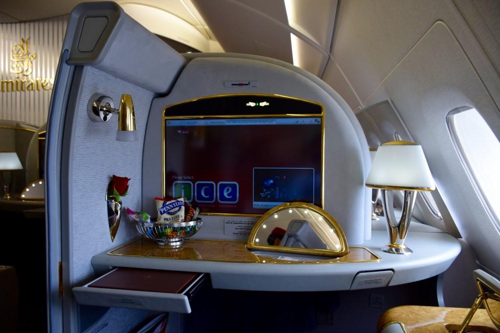 Emirates First Class A380 In-Flight Entertainment Screen