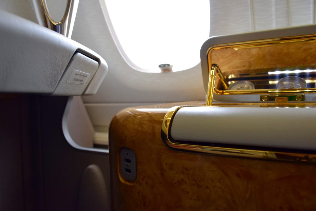 Emirates First Class A380 USB Port