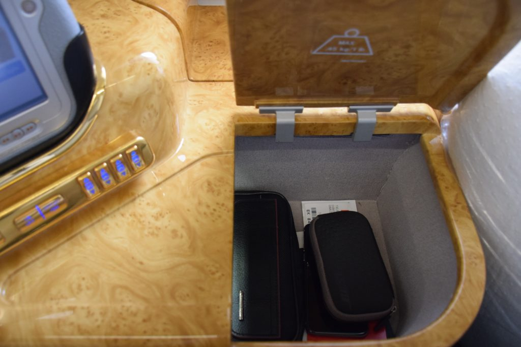 Emirates First Class A380 Storage Compartment