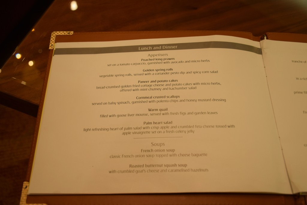 Emirates First Class Lounge Dubai Concourse A - Menu