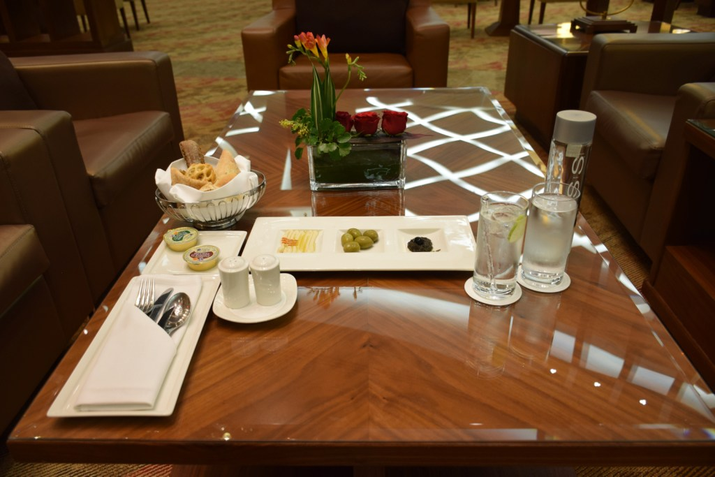 Emirates First Class Lounge Dubai Concourse A - Dining Setup