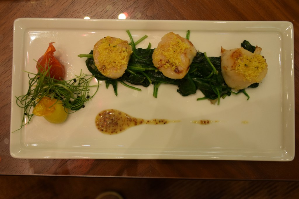 Emirates First Class Lounge Dubai Concourse A - Cornmeal Crusted Scallops
