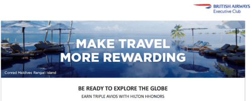 Earn Triple British Airways Avios when staying at Hilton properties hilton avios